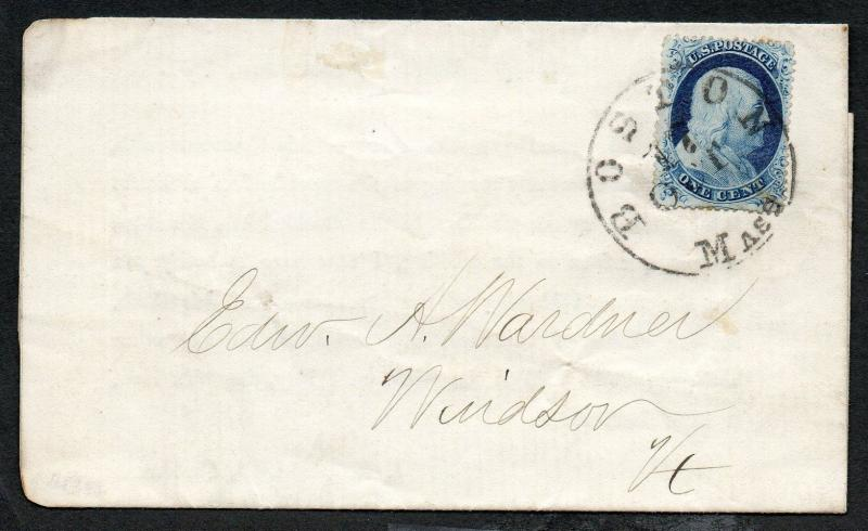 US Scott #23 Recut Twice At Bottom, Boston MA Oct 17, 1857 CDS Cancel on Cover