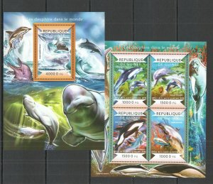 ST163 2015 GUINEA DOLPHINS FAUNA MARINE LIFE KB+BL MNH STAMPS