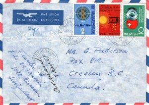 Switzerland to Creston,BC,Canada 1967 Airmail Cover