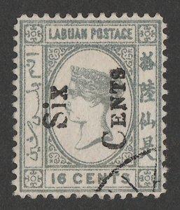 LABUAN : 1892 'SIX CENTS' on QV 16c grey, error SIDEWAYS.