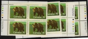Canada - 1989 76c Grizzly Imprint Blocks VF-NH #1178