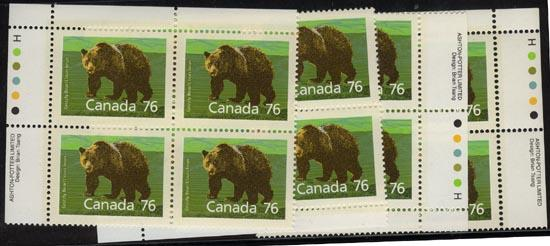 Canada - 1989 76c Grizzly Imprint Blocks VF-NH #1178