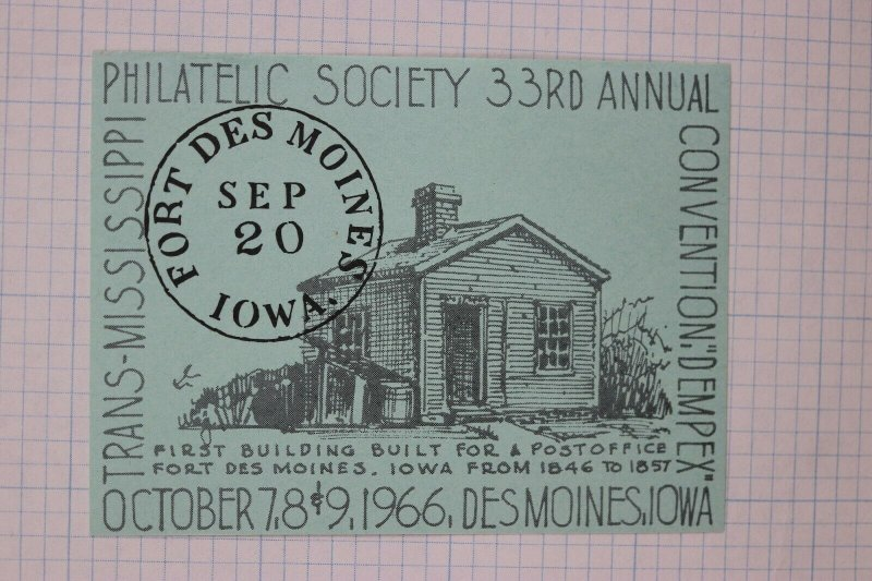 TMPS Dempex 1966 fort des moines PO Philatelic society Souvenir ad label stamp