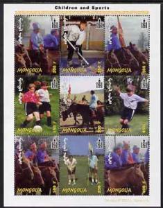 Mongolia 2002 Children & Sport perf sheetlet containi...