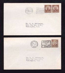 US 1.5¢ AND 4¢ PRESIDENTS HARDING AND TAFT SCOTT #684-685 FDC COVERS 1930