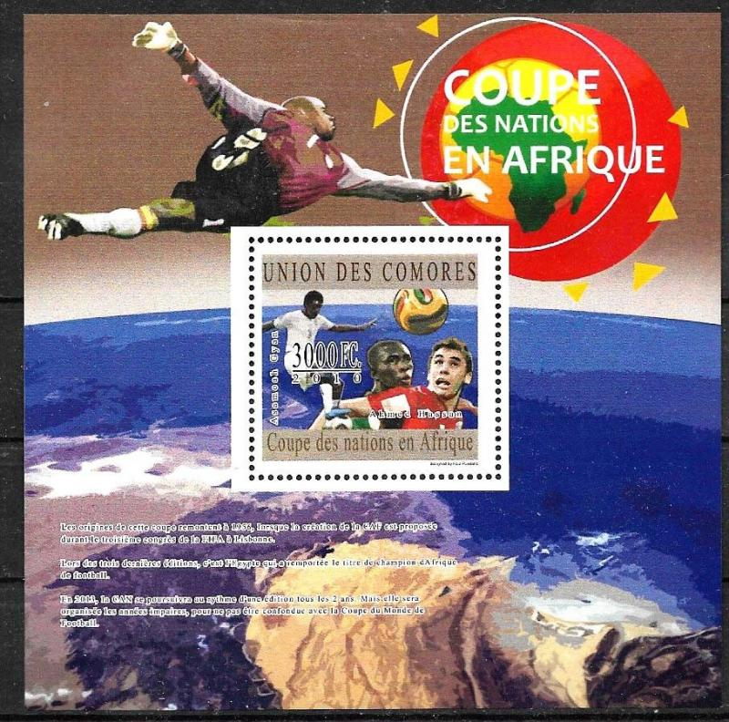 COMORES 2010 FOOTBALL SOCCER WORLD CUP SOUTHAFRIKA 2010 MS+S/S YV 1987+BL270 MNH