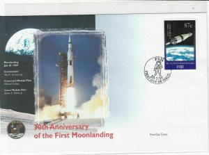 fiji 30th anniversary moon landing stamps cover 1999 ref 19484