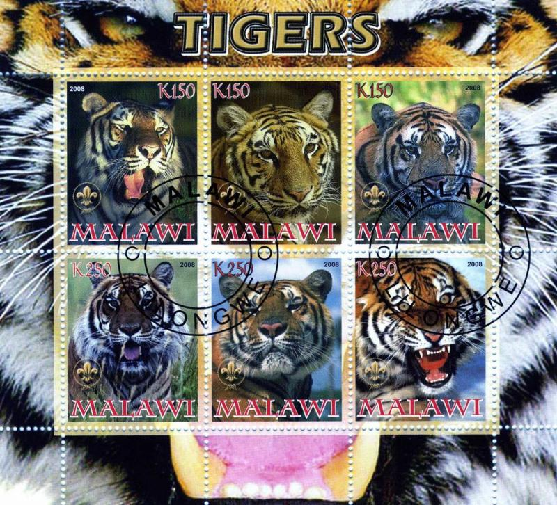 Malawi 2008 Tigers Sheet Perforated CTO Fine used
