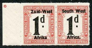 SOUTH WEST AFRICA SGD7b Post Due 1923 1d Variety Afrika without stop U/M