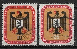 1955 Berlin 9N118-9 Arms of Berlin/Bundestag Meeting C/S of 2 used.