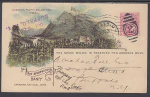 Canada H&G 24 used 1906 1c Hot Springs Hotel PPC, Canadian Pacific Railway Co.