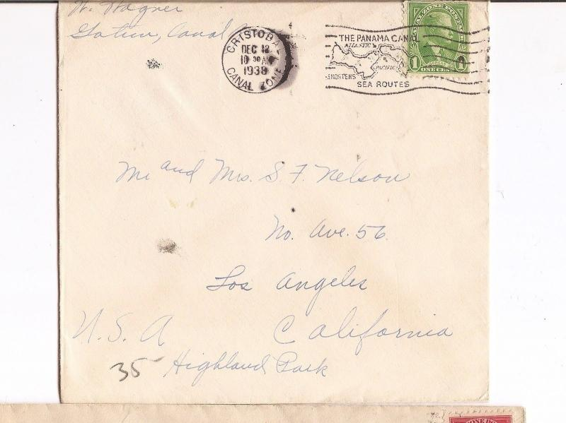 Canal Zone 1c cover from Cristobal Canal Zone Fancy Panama Canal Cancel (bae)
