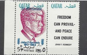 Qatar, MI: 119a, John F. Kennedy Ovpt. Red Single w/Label, **MNH**
