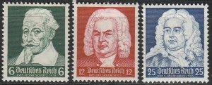 Stamp Germany Mi 573-5 Sc 456-8 1935 Fascism Musicians Handel Schultz Bach MH