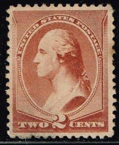 US STAMP #210 – 1883 2c Washington, red brown UNUSED/NG STAMP