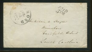 1860's Confederate States Stampless Paid 5 Cts Postal Cancel Cover