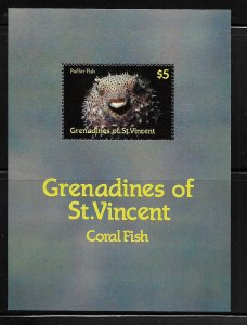 ST. VINCENT GRENADINES ,578, MNH, S.S, PUFFER FISH