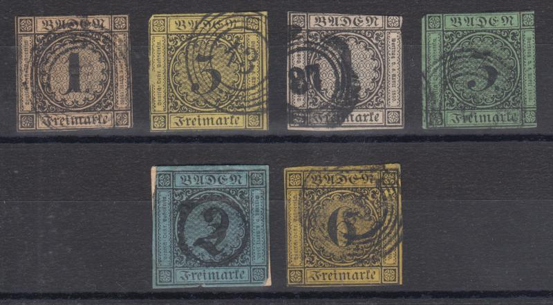 Baden Sc 1/9 used 1851-1858 First Issues, 6 different, all genuine w/ thins
