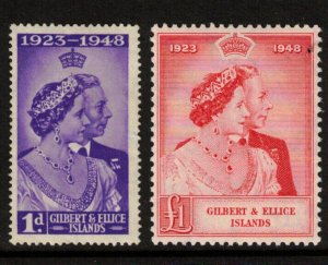 Gilbert & Ellice Islands #54 - #55 Very Fine Mint Original Gum Hinged
