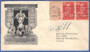 CUBA 1940 Pan-American Union FDC, Signed by President Fulgencio Batista Zaldivar