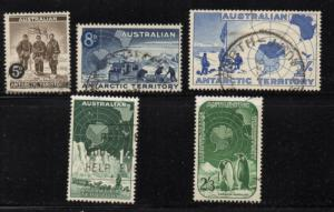 Australian Antarctic Territory Sc L1-5 1957-9 1st stamp set used