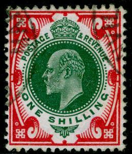 SG314, 1s green & carmine, FINE USED. Cat £35.