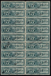 US STAMP STATE OF OHIO $2 WINE TAX PAID STAMP BLK OF 18