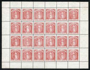 British Virgin Islands 1887 1d Rose-red COMPLETE PANE of 24 (20 x U/M)
