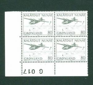 Greenland. 1 MNH 4-Plate Block  # G 017. 1976, 80 Ore Catalina Mail. Engr:Slania