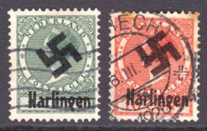 NETHERLANDS LOCAL HARLINGEN GERMANY OCCUPATION OVERPRINT x2 #1 CDS F/VF-VF SOUND