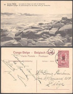 BELGIAN CONGO 15 on 10c pictorial postcard - Stanley Pool Rapids - Boma cds.E716