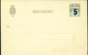 DENMARK 5 on 3ore #41V, single card (45a) unused, rare, VF