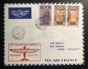 1937 Conakry French Guinea Airmail First Flight Cover FFC to Dakar Air France