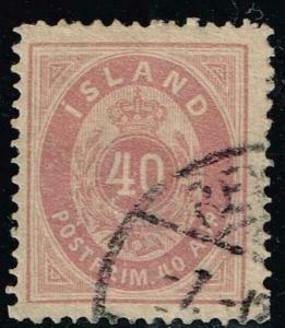 Iceland 18(Fa 17) -Small Numeral / 40 Aur/Red Violet - Used - F/VF - CV$47.50