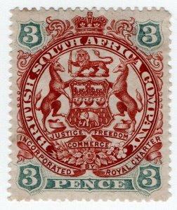 (I.B) Rhodesia/BSAC Postal : Arms 3d (1897)