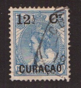 Netherlands Antilles  Curacao  #29   used  1902 Wilhelmina   surcharge  12 1/2c