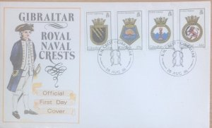 GIBRALTAR FIRST DAY COVER 1986 ROYAL NAVY CRESTS (5th series)