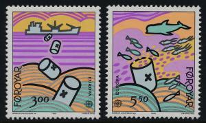 Faroe Islands 143-4 MNH EUROPA, Sea Pollution, Fish, Whale, Ship