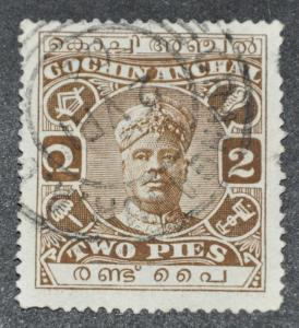 DYNAMITE Stamps: India Cochin Scott #23 – USED
