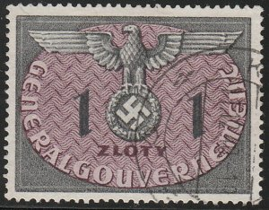 Stamp Germany Poland General Gov't Official Mi 13 Sc NO13 1940 WW2 War Used