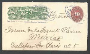 1893 Mexico Wells Fargo W/Columbian C.C. on 10c Red Numeral Entire Used