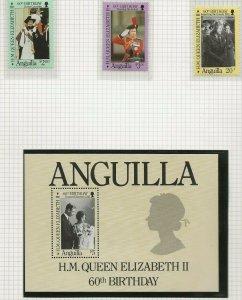 ANGUILLA 1986 60TH BIRTHDAY QUEEN ELIZABETH II,SET & SOUVENIR SHEET PERF MINT