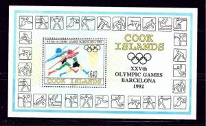 Cook Is 1110 MNH 1992 Olympics souvenir sheet