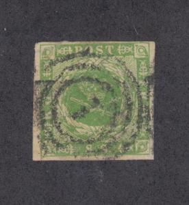 Denmark Sc 5 used 1857 8s Royal Emblems, 1 in Target Cancel, 4 margins, VF