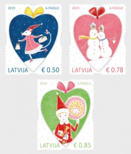 2019 Latvia Christmas  (3) (Scott NA) MNH