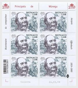 H01 Monaco 2019  Bicentenary of the Birth of Jacques Offenbach  Sheetlets