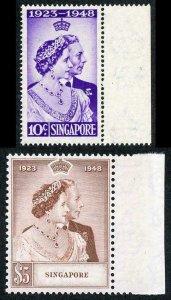 Singapore 1948 Royal Silver Wedding SG31/2 U/M (MNH)