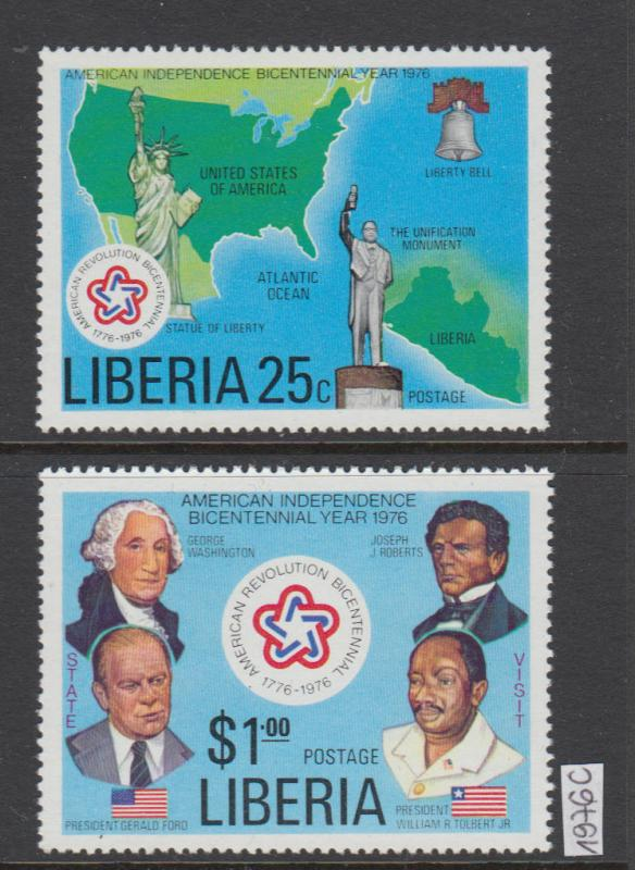 XG-W889 LIBERIA - American Bicent., 1976 2 Values MNH Set