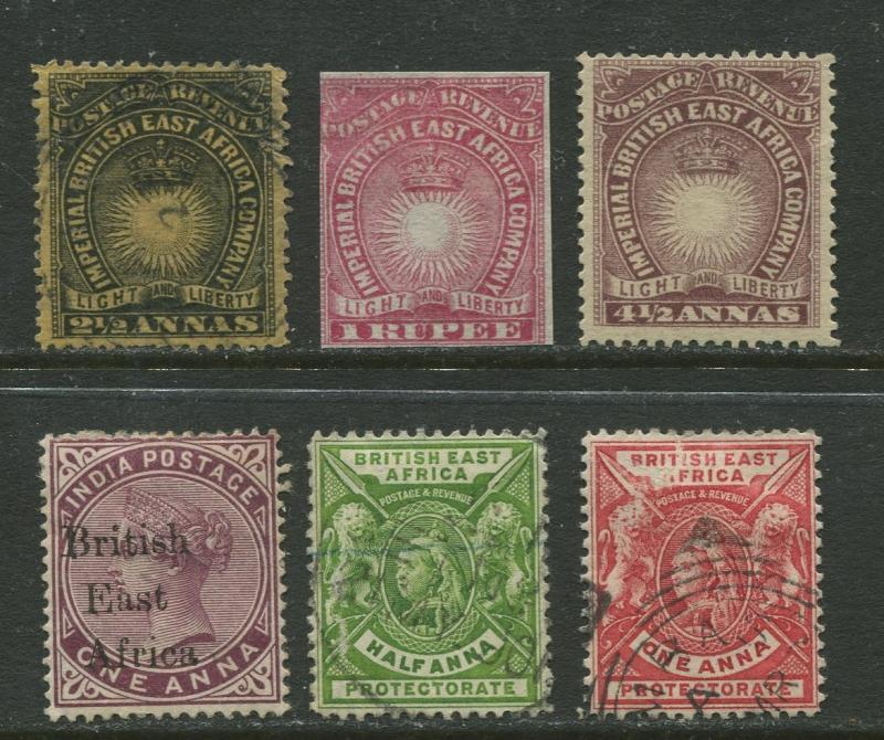 British East Africa  - Scott Various - 1890-6 - Mint & Used - Six Stamps