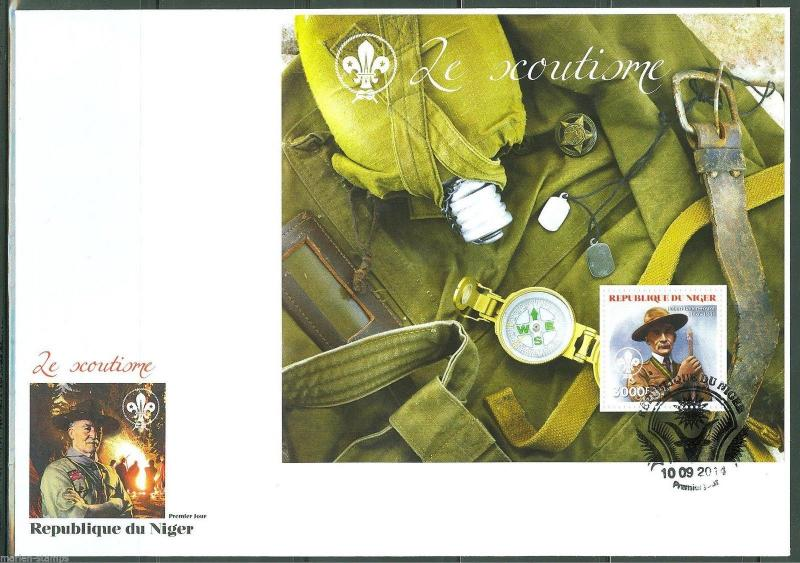 NIGER 2014 BOY SCOUTS BADEN POWELL  SOUVENIR SHEET FIRST DAY COVER